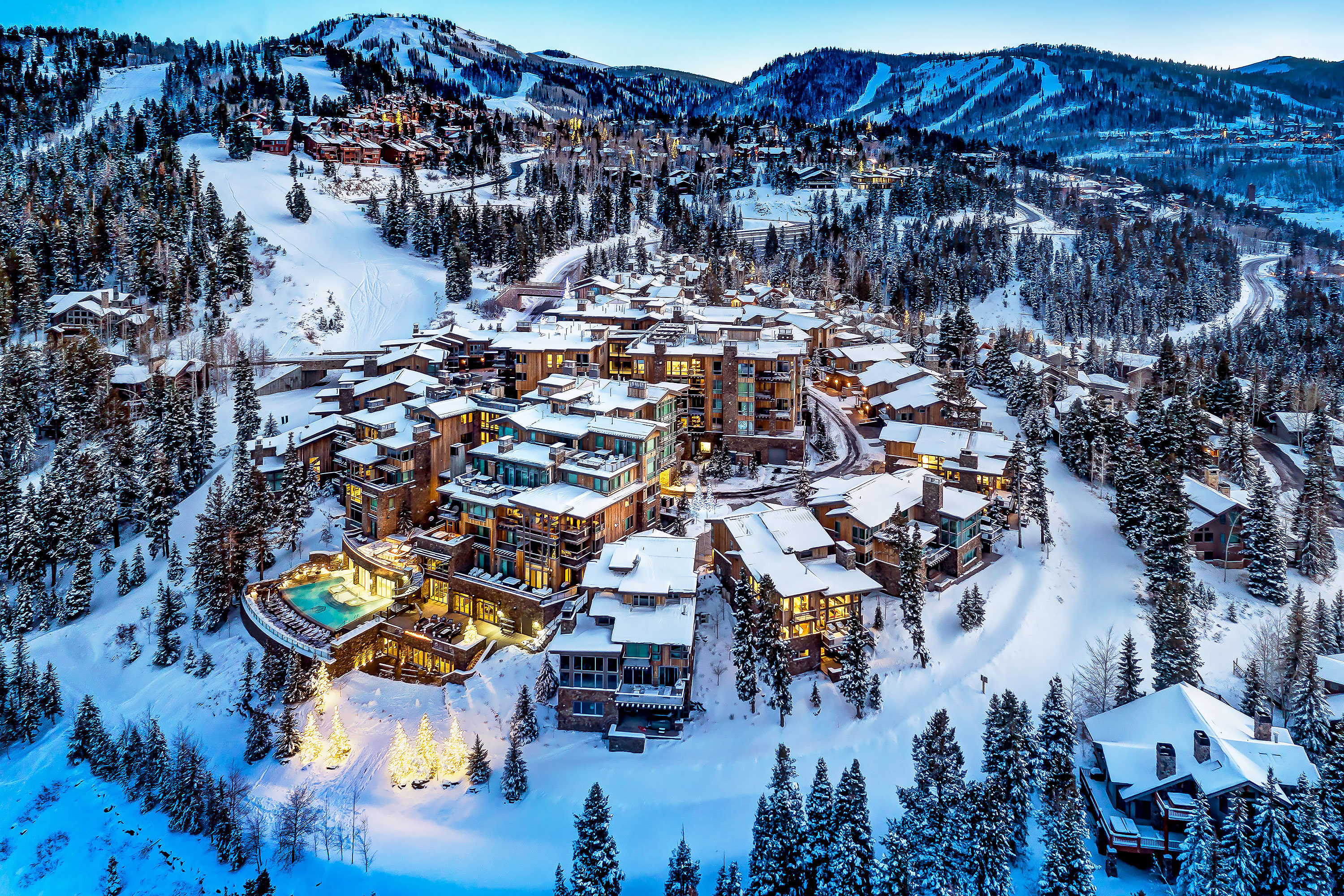 Stein Eriksen Residences - Park City, Utah. Aerial Photography by Alan Blakely.