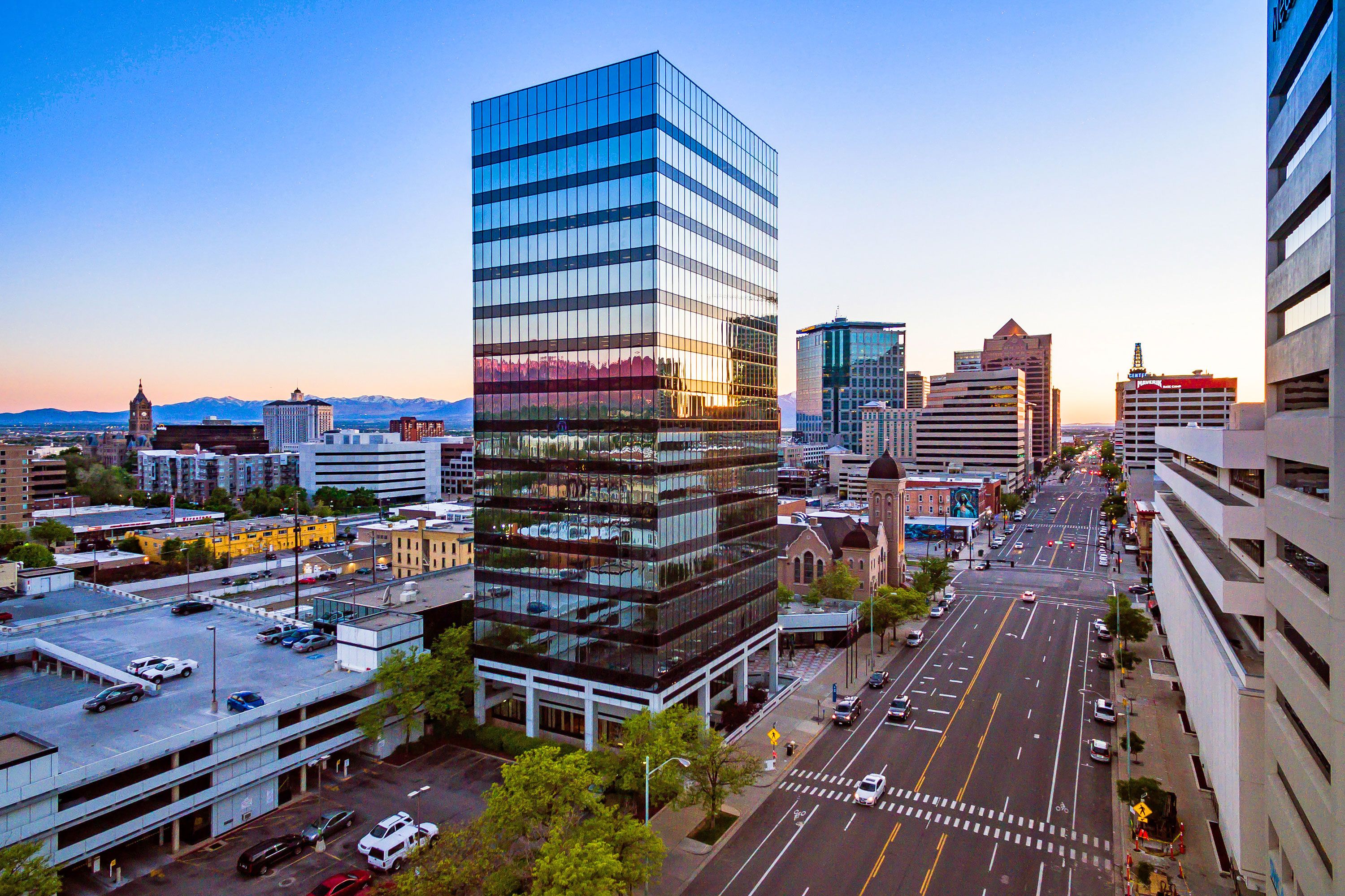 Office Tower - Salt Lake City, Utah. Aerial Photography by Alan Blakely.