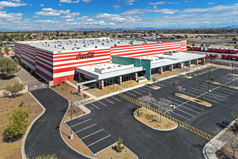 Coca-Cola Warehouse - Glendale, Arizona. Aerial Photography by Alan Blakely.