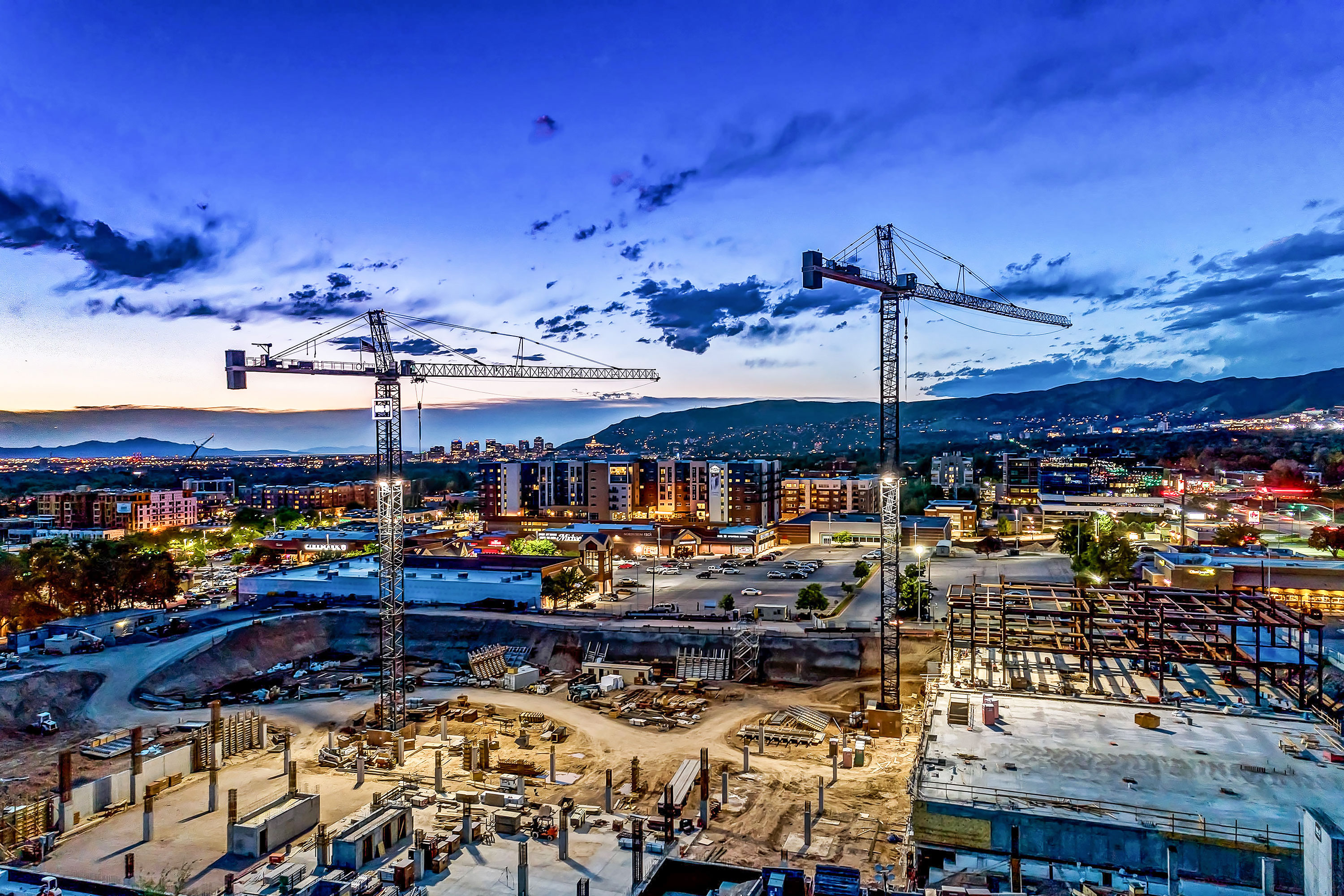 Construction Cranes - Salt Lake City, Utah. Aerial Photography by Alan Blakely.
