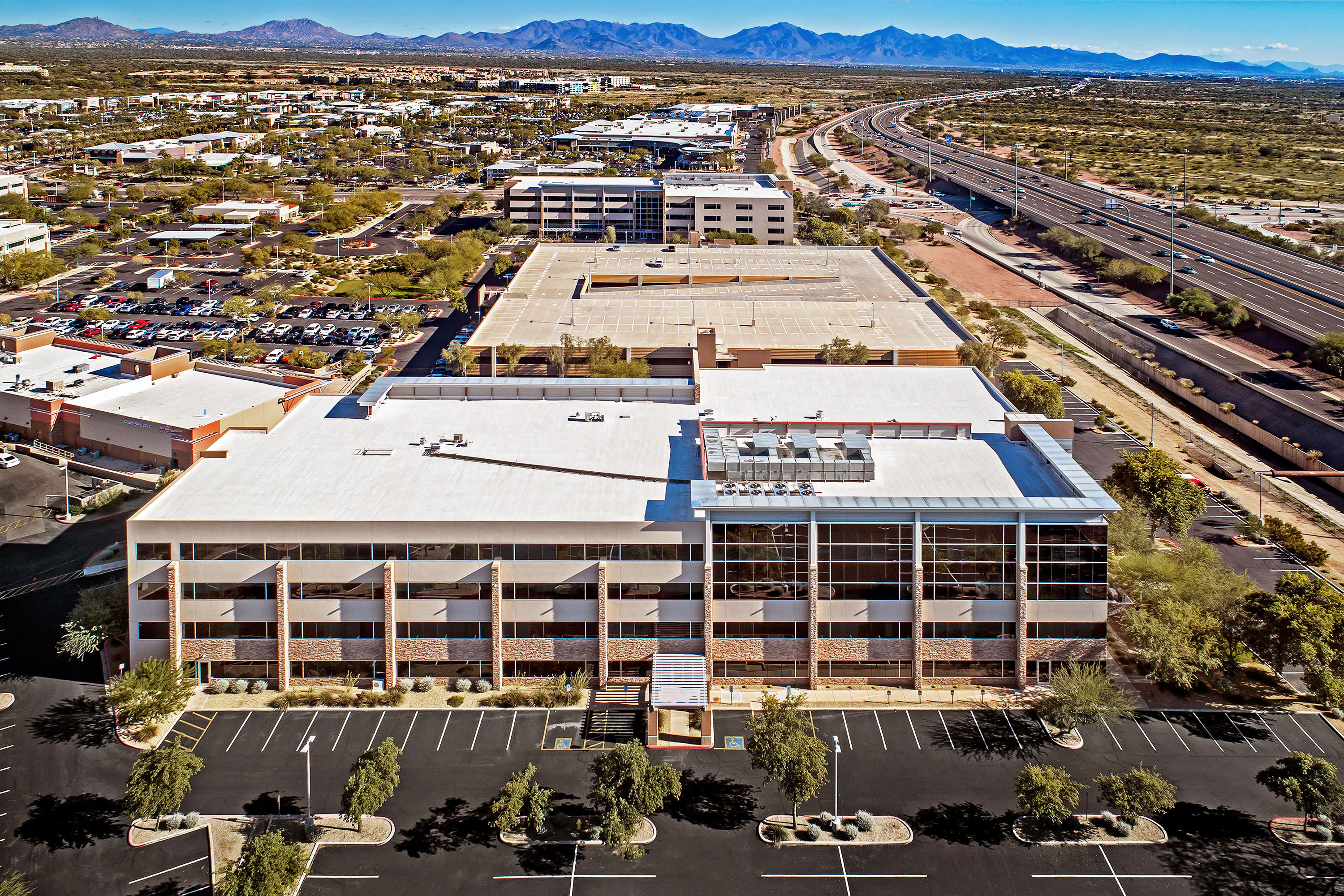 Office Buildings - Scottsdale, Arizona. Aerial Photography by Alan Blakely.