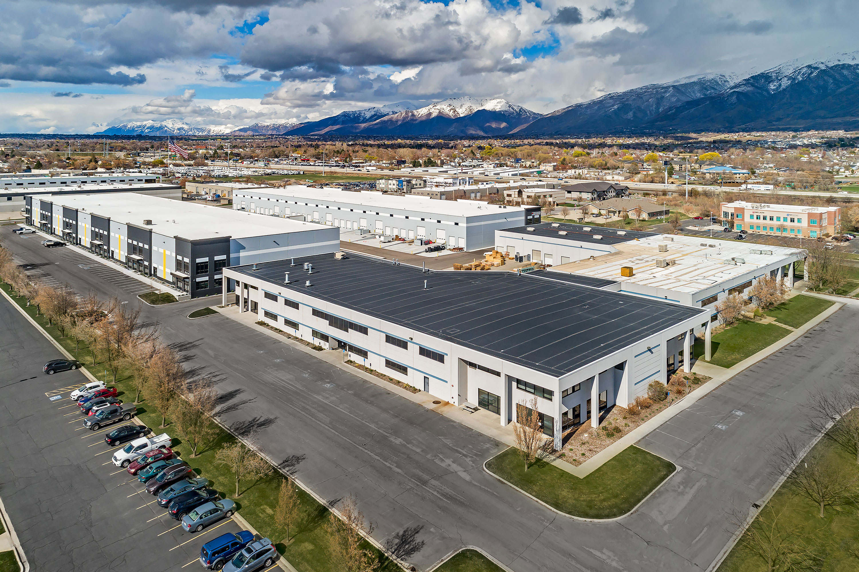 Commercial Buildings - Kaysville, Utah. Aerial Photography by Alan Blakely.
