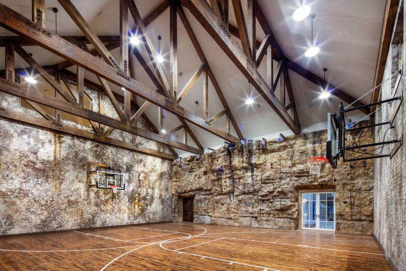 Sport Court with Climbing Wall by Alan Blakely Architectural Photography